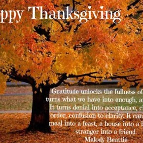 Thanksgiving - let us all be grateful